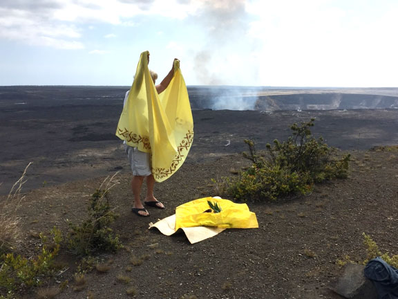 preparing for offerings, prayers and healing ceremony at Kilauea crater volcano