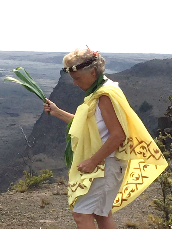 offerings, prayers and healing ceremony at Kilauea crater volcano