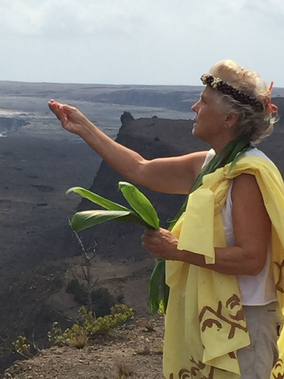 Dr Noe' Anna Bonas doing healing ceremony at Kilauea crater volcano